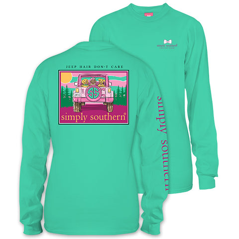 Simply Southern Preppy Jeep Hair Dont Care Long Sleeve T-Shirt