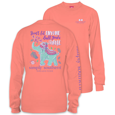 Simply Southern Preppy Elephant Sparkle Glitter Long Sleeve T-Shirt