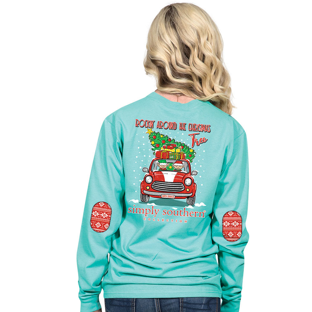 4abbcf14c811 SALE Simply Southern Preppy Elf Christmas Tree Long Sleeve T-Shirt ...