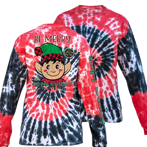 Simply Southern Preppy Be Merry Elf Holiday Tie Dye Long Sleeve T-Shirt