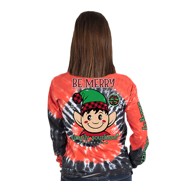 SALE Simply Southern Preppy Be Merry Elf Holiday Tie Dye Long Sleeve T-Shirt