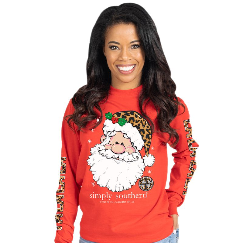 Simply Southern Leopard Santa Falalala Holiday Long Sleeve T-Shirt