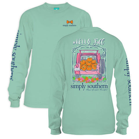Sale Simply Southern Hello Fall Pumpkin Long Sleeve T-Shirt