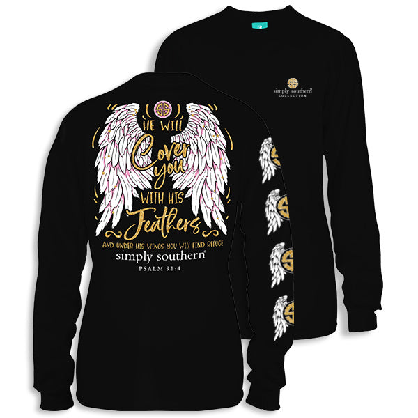 Sale Simply Southern Faith Wings Feathers Long Sleeve T-Shirt