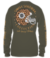 Simply Southern Preppy Leopard Football Long Sleeve T-Shirt