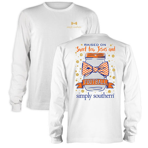 Simply Southern Sweet Tea Jesus Football Orange Blue Long Sleeve T-Shirt
