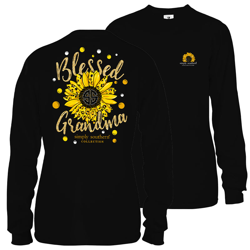Simply Southern Preppy Blessed Grandma Sunflower Long Sleeve T-Shirt