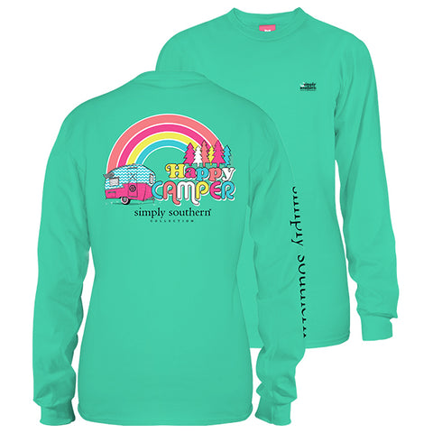 Simply Southern Preppy Happy Camper Long Sleeve T-Shirt