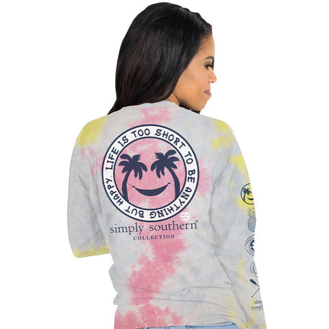 Simply Southern Life Is Short Happy Tie Dye Long Sleeve T-Shirt