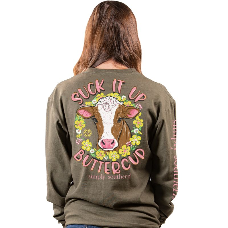 Simply Southern Suck It Up Buttercup Heifer Cow Long Sleeve T-Shirt