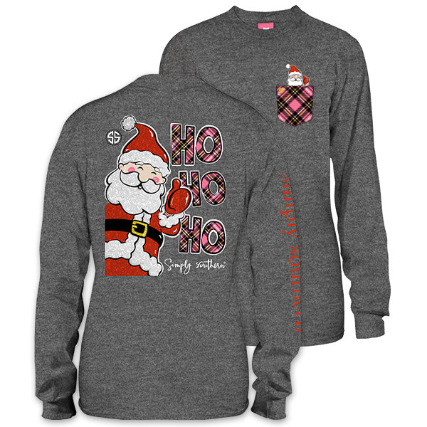 Simply Southern Preppy Ho Ho Ho Santa Christmas Long Sleeve T-Shirt