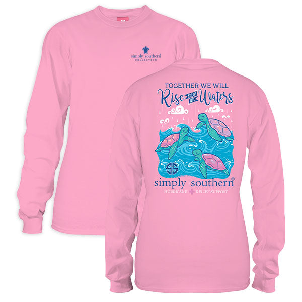 Sale Youth Simply Southern Hurricane Relief Rise Above The Waters Long Sleeve T-Shirt
