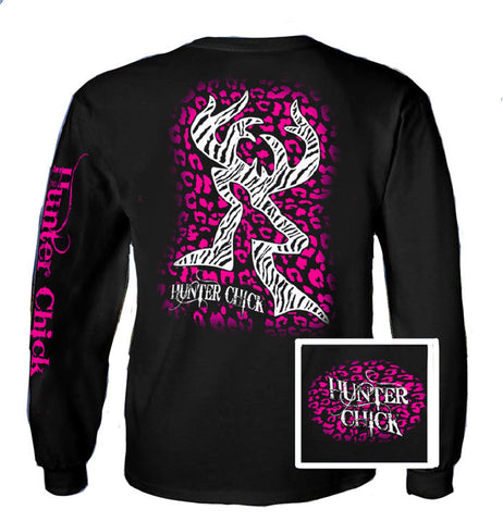 Country Life Outfitters Hunter Chick Black & Pink Cheetah Deer Head Hunt Vintage Long Sleeve Bright T Shirt - SimplyCuteTees