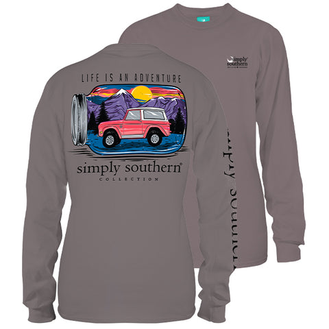Simply Southern Preppy Mason Jar Jeep Mountains Long Sleeve T-Shirt