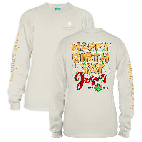 Simply Southern Preppy Yay Jesus Holiday Long Sleeve T-Shirt