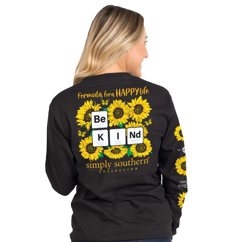Simply Southern Preppy Be Kind Sunflower Long Sleeve T-Shirt