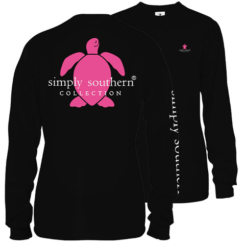 Simply Southern Preppy Classic Turtle Logo Black Long Sleeve T-Shirt