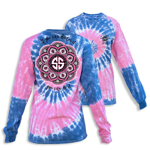 Simply Southern Preppy Mandala Taffy TieDye Pattern Long Sleeve T-Shirt