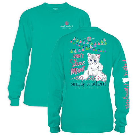 Simply Southern Preppy Dont Stress out Kitty Cat Long Sleeve T-Shirt