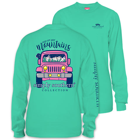 Simply Southern Preppy Faith Mountains Jeep Long Sleeve T-Shirt