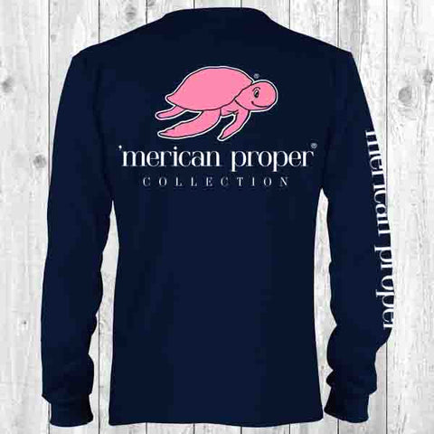 Merican Proper Collection Classic Turtle Logo Navy Long Sleeve T Shirt