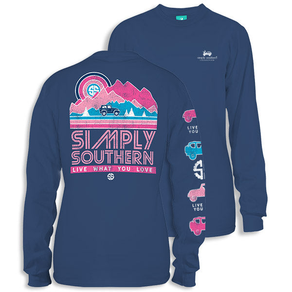 Sale Youth Simply Southern Preppy Retro Mountains Long Sleeve T-Shirt