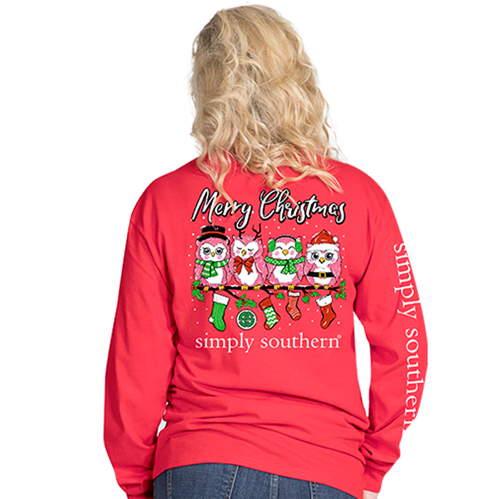 ea798fb8635a Simply Southern Preppy Merry Christmas Owl Long Sleeve T-Shirt ...