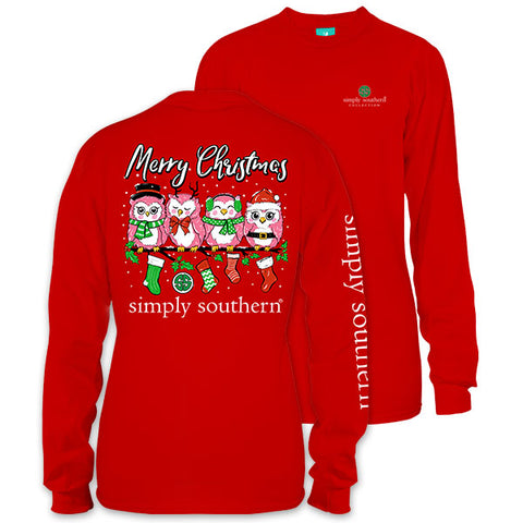 Simply Southern Preppy Merry Christmas Owl Long Sleeve T-Shirt