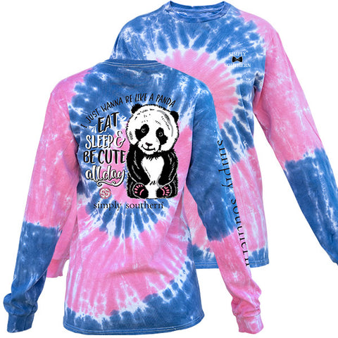Simply Southern Preppy Panda Taffy TieDye Pattern Long Sleeve T-Shirt