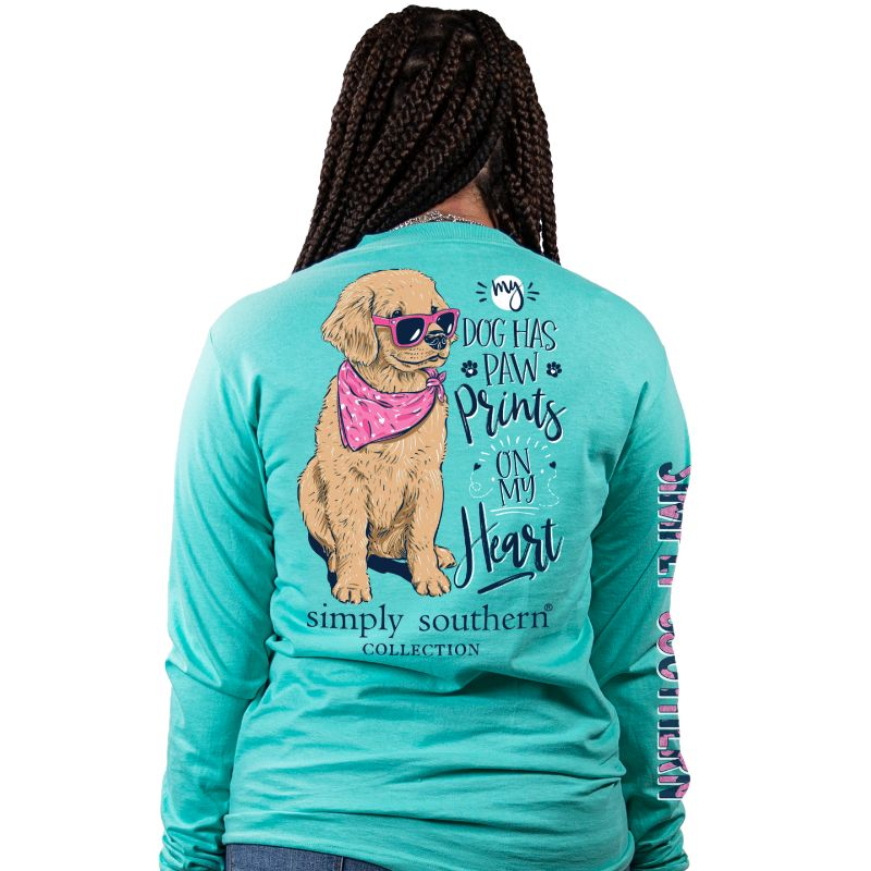 Simply Southern Dog Paw Prints Heart Long Sleeve T-Shirt