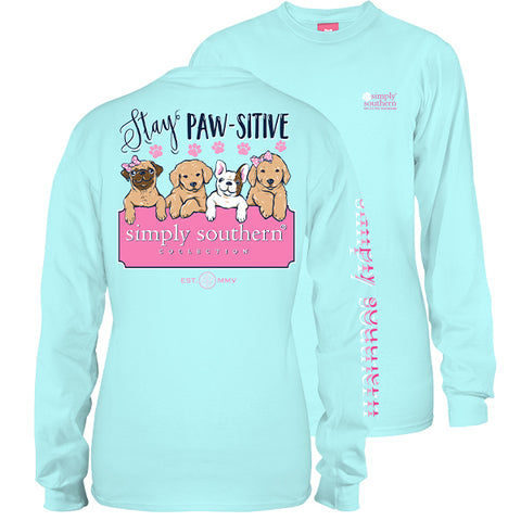 Simply Southern Preppy Stay Paw-sitive Dog Long Sleeve T-Shirt