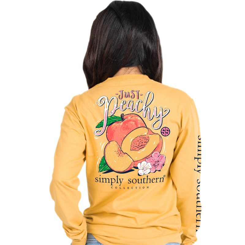 Simply Southern Preppy Just Peachy Long Sleeve T-Shirt
