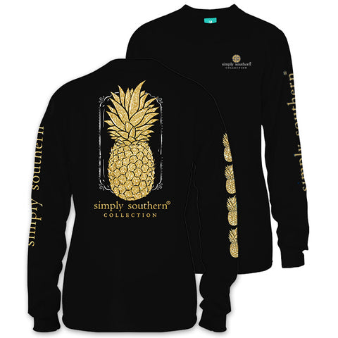 Simply Southern Preppy Glitter Pineapple Long Sleeve T-Shirt