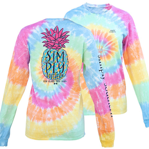 Simply Southern Preppy Pineapple Tie Dye Long Sleeve T-Shirt
