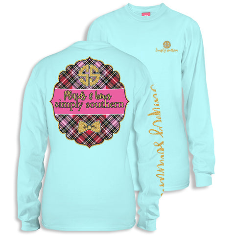 Simply Southern Preppy Plaids & Bows Long Sleeve T-Shirt