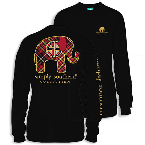 Simply Southern Preppy Plaid Elephant Long Sleeve T-Shirt