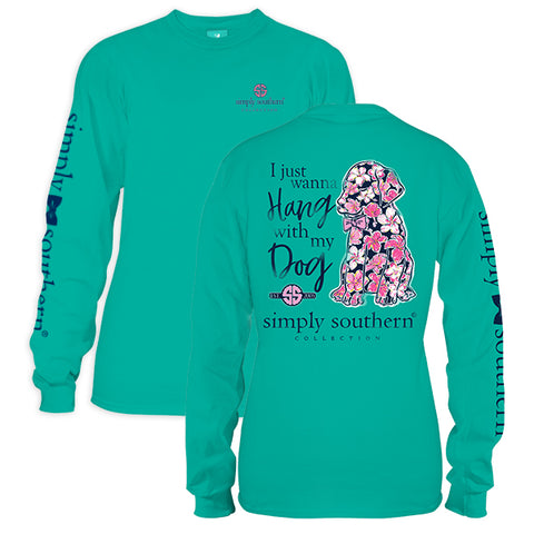 Sale Simply Southern Preppy Hang With My Dog Long Sleeve T-Shirt