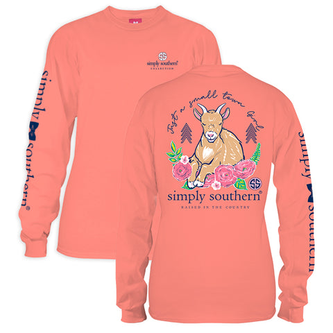 Simply Southern Preppy Small Town Girl Goat Long Sleeve T-Shirt