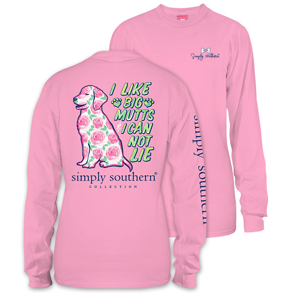 Sale Simply Southern Preppy Big Mutts Flower Dog Long Sleeve T-Shirt