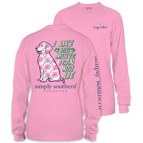 Simply Southern Preppy Big Mutts Flower Dog Long Sleeve T-Shirt