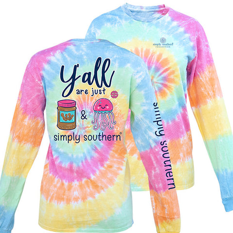 Simply Southern Preppy Peanut Butter Jelly TieDye Pattern Long Sleeve T-Shirt