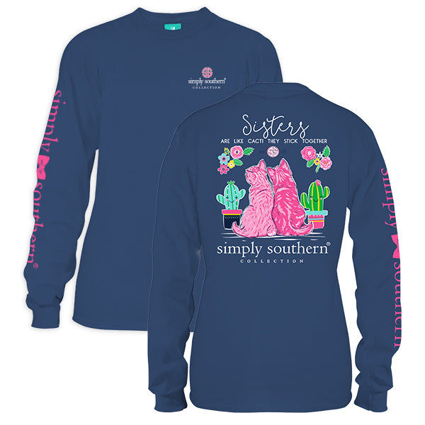 3d73efcbb0 Simply Southern Preppy Sisters Kitty Cats Long Sleeve T-Shirt |  SimplyCuteTees