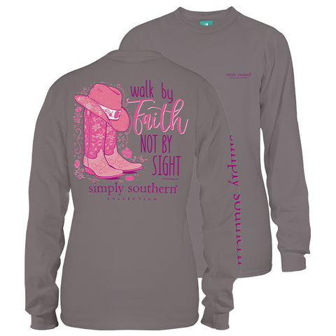 Simply Southern Preppy Walk By Faith Boots Long Sleeve T-Shirt