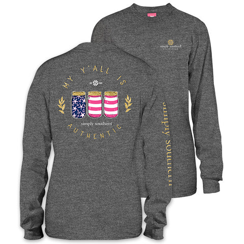Simply Southern Preppy Yall Authentic USA Mason Long Sleeve T-Shirt