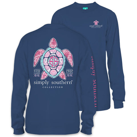 Simply Southern Preppy Princess Glitter Turtle Long Sleeve T-Shirt