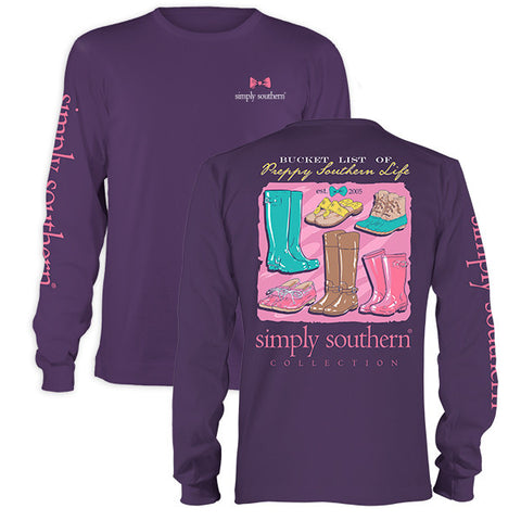 Simply Southern Bucket List Preppy Life Shoes Long Sleeve T-Shirt