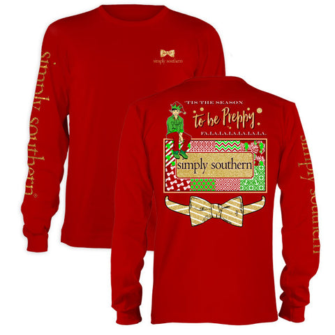 SALE Youth Simply Southern Tis The Season To Be Preppy Christmas Long Sleeve T-Shirt