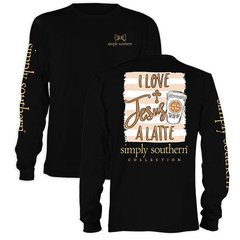Simply Southern Preppy Love Jesus Latte Long Sleeve T-Shirt