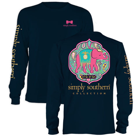 Simply Southern Let God Preppy Elephant Long Sleeve T-Shirt
