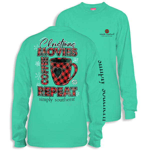 1e79a09ba65f8 SALE Simply Southern Christmas Movies Coffee Repeat Long Sleeve T-Shir |  SimplyCuteTees
